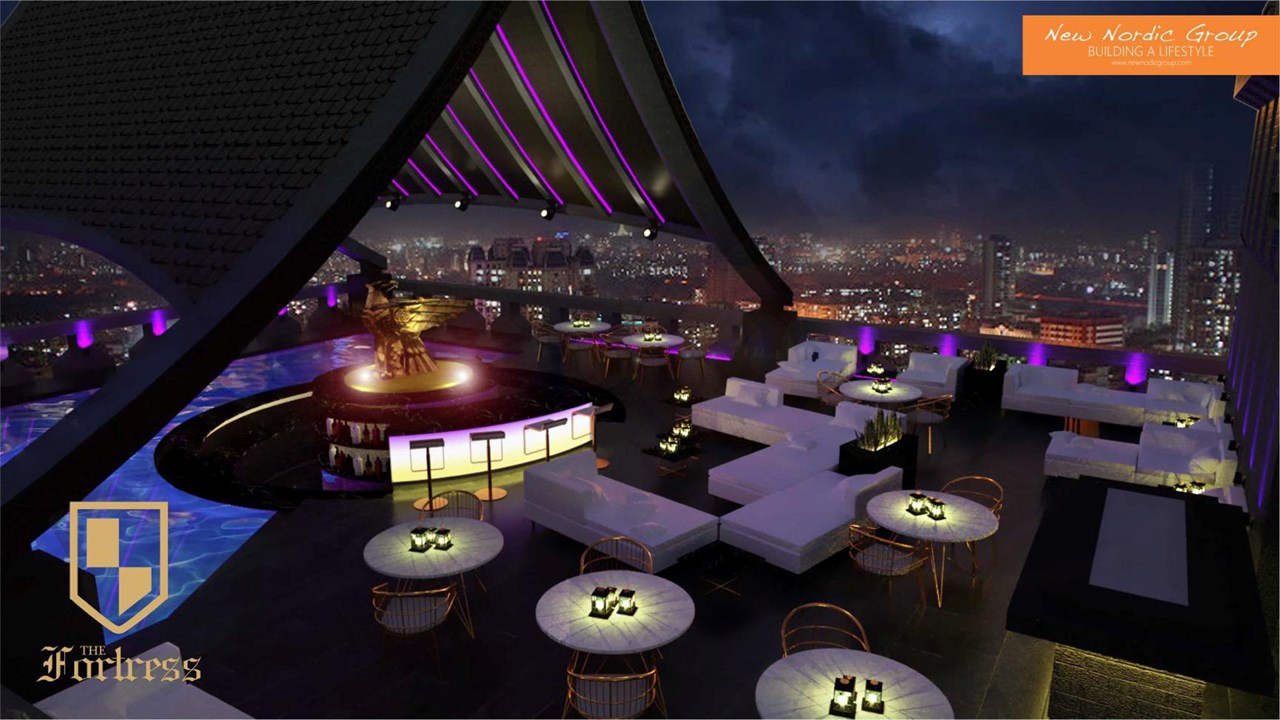 The Fortress 3D rendering, rooftop